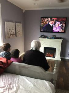 MIL and Kids watching a movie