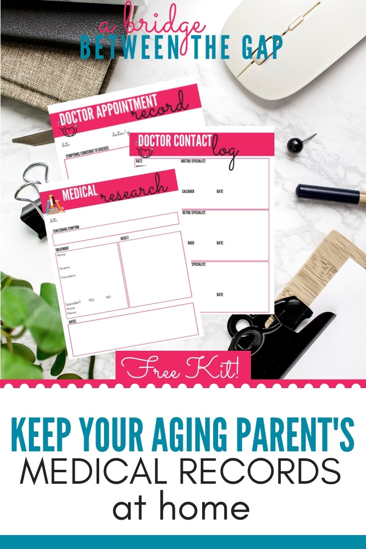 A major concern for sandwiched homemakers is the health of our aging parent. Stop depending on your doctor for all information concerning your aging parent's health by keeping your own medical records for your aging parent. #caregiving #agingparent #elderlyparent #sandwichgeneration #doctor #records #planning #familycaregiver