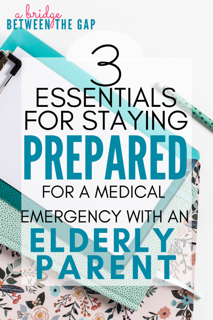 We never want our elderly parents to experience a lapse in their care and well-being. Staying prepared for a medical emergency will give you peace of mind and ensure your parent receives optimal care at all times. #elderlyparent #sandwichgeneration #caregiving